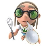 hippy stonertecken för rolig tecknad film som 3d rymmer en vifta och en plastbunke stock illustrationer