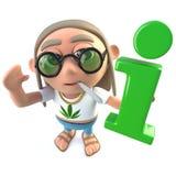 hippy stonertecken för rolig tecknad film som 3d rymmer ett informationssymbol royaltyfri illustrationer