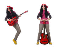 The hipste guitar player isolated on white Stock Photos