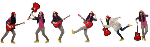 The hipste guitar player isolated on white Royalty Free Stock Images