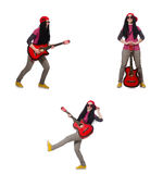 Hipste guitar player isolated on white Royalty Free Stock Photo