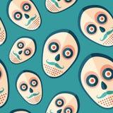 Hipster άνευ ραφής σχέδιο εικονιδίων τρομακτικών μασκών επίπεδο Στοκ Εικόνα