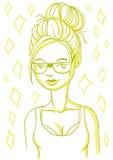hipster κορίτσι στα γυαλιά Στοκ Εικόνες