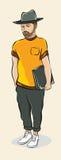 Hipster με έναν φάκελλο για τα έγγραφα απεικόνιση αποθεμάτων