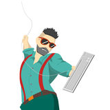 Hipster με το πληκτρολόγιο Στοκ εικόνα με δικαίωμα ελεύθερης χρήσης