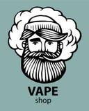 Hipster με το vape και το σύννεφο απομονωμένα vaper άτομα στο μαύρο διανυσματικό υπόβαθρο Hand-drawn μάγκα hipster με το mustache ελεύθερη απεικόνιση δικαιώματος