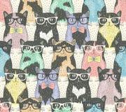 Άνευ ραφής σχέδιο με τις χαριτωμένες γάτες hipster Στοκ Εικόνα