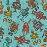 Άνευ ραφής σχέδιο χρώματος ρομπότ Hipster Στοκ Εικόνες