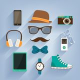 Hipster accessories items set Royalty Free Stock Image