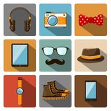 Hipster accessories pictograms set Stock Photo