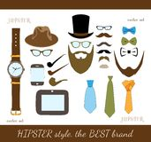 Hipster Accessory Icons Set Stock Photo