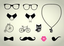 Hipster Accessory Set Stock Photography