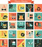 Hipster alphabet concept background with icons Stock Photos