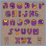 Hipster Alphabet. Funny purple and orange letters Royalty Free Stock Images