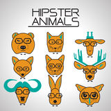 Hipster animal icons set Stock Image