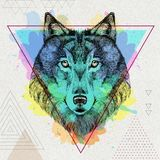 Hipster animal wolf on artistic polygon watercolor background vector illustration