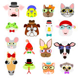 Hipster animals faces set Royalty Free Stock Photo