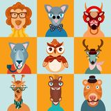 Hipster animals icons flat Stock Photography