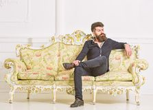 Hipster on arrogant face sits alone. Man with beard and mustache spends leisure in luxury living room. Rich and lonely. Concept. Owner of luxury apartment sits stock image