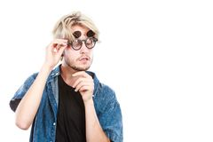 Hipster artistic man with eccentric glasses Royalty Free Stock Image