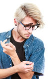 Hipster artistic man with eccentric glasses Royalty Free Stock Photos