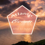 Hipster atlantic ocean. Retro vintage hipster landscape logo on a foto Stock Images