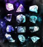 Hipster background. Hipster cosmic  bubble and label, polygonal triangles and space background Stock Images
