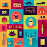Hipster background in flat design style Stock Photo