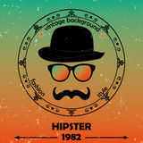 Hipster  background. Retro vintage label design. Hipster theme label, card. Mustache, Glasses and  Bowler Hat Stock Photography