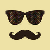 Hipster background. Sunglasses and mustache. Royalty Free Stock Images