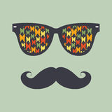 Hipster background. Sunglasses and mustache vector illustration