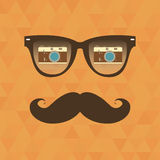 Hipster background. Sunglasses reflection camera Royalty Free Stock Photography