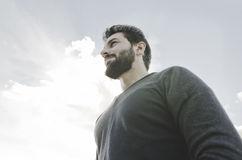 Hipster backlight staring into space Stock Image