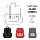 Hipster backpack icon in cartoon style  Royalty Free Stock Image