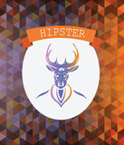 Hipster badge with stag and banner Royalty Free Stock Photos