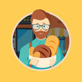 Hipster baker with beard royalty free illustration