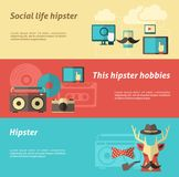 Hipster Banner Set Stock Photo