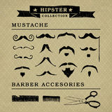 Hipster barber sccesories graphic set royalty free stock images