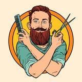Hipster Barber, scissors comb, barbershop. Comic book cartoon pop art retro vector illustration royalty free illustration