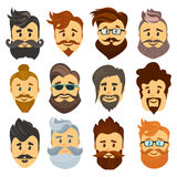 Hipster barbershop cartoon european people with beards moustaches and various stylish haircuts on white background Royalty Free Stock Image
