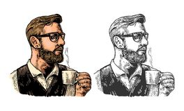 Hipster barista with the beard holding a cup of hot coffee. Stock Image