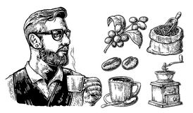 Hipster barista holding a cup of hot coffee Sack with coffee beans with wooden scoop and beans, cup, branch with leaf and berry. royalty free illustration