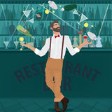 Hipster bartender deftly juggles bottles. Fashionable hipster bartender with the suspenders and red bow tie deftly juggles glasses, shakers, bottles and other Royalty Free Stock Photography
