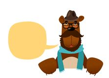 Hipster bear. Character design isolated on white Stock Photography