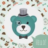 Hipster Bear Head Card Vector Illustration Stock Photos