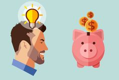Hipster beard businessman with idea looking piggy bank with money. Financial concept. A contemporary style soft blue tinted background Royalty Free Stock Images