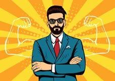 Hipster beard businessman with muscles pop art illustration stock illustration