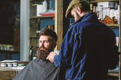 Hipster with beard covered with cape serving by professional barber in stylish barbershop. Grooming concept. Barber busy stock image
