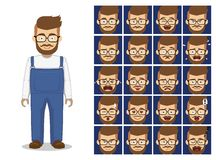 Hipster Beard Glasses Cartoon Emotion Faces Vector Illustration Stock Images