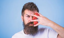 Hipster beard mustache thoughtful face think berries. Man can not think about anything but strawberry blue background. Strawberry on my mind. Man bearded stock image